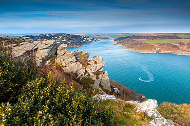 Looking north from Sharp Tor across The Bar towards Salcombe, South Devon, England, UK, Europe