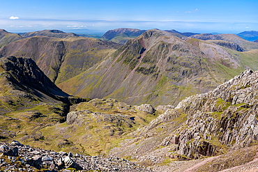 View from Scafell Pike in the Lake District National Park, Cumbria, England, UK, Europe