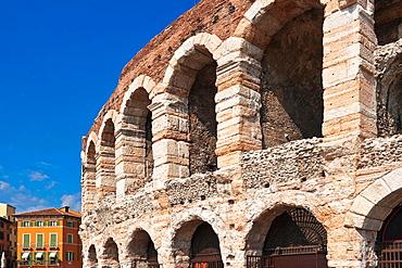 Roman amphitheatre and annual event place of opera festival at the square Piazza Bra Verona, Veneto, Northern Italy, Italy, Europe