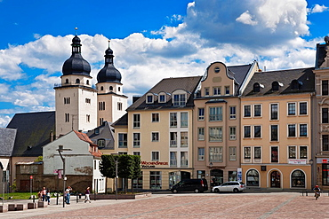 View over the old marketplace to the Protestant Lutheran Church of St John, oldest church of Plauen, Vogtland, Saxony, Germany, Europe