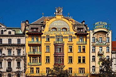 Grand Hotel Europa from 1903 to 1905 modified in the art nouveau, alongside Hotel Meran, build from 1895 to 1906, located at Wenceslas Square, Prague, Hlavni mesto Praha, Czech Republic, Europe