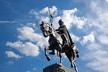 Wenceslas Monument, located at Wenceslas Square, Created in 1912 by the czech artist Josef V. Myslbek, Prague, Hlavni mesto Praha, Czech Republic, Europe