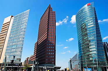 Contemporary office buildings at Potsdamer Platz Berlin, Germany, low angle view
