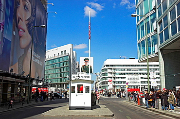 Tourists at Checkpoint Charlie, Berlin Germany