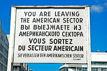 Sign at Checkpoint Charlie, Berlin Germany