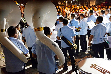 Brass Band play on the Zocalo in Oaxaca in Mexico