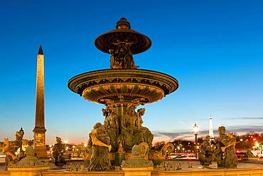Fountain in the concorde square, Paris, Ile de France, France