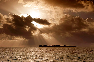 Sunbeams over the Florida Keys, Just after sunrise, Florida, USA