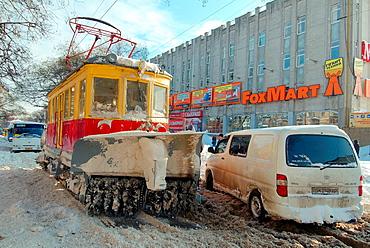 snow-removing tram, Odessa, Ukraine