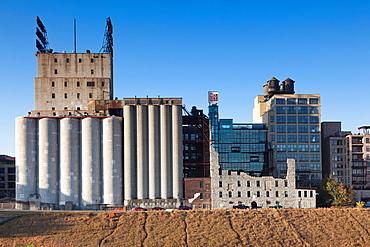 USA, Minnesota, Minneapolis, Mill City Museum area, elevated view
