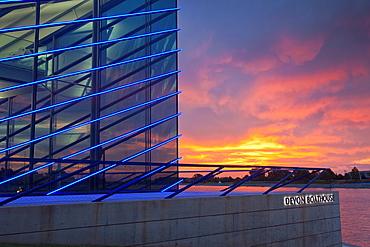 USA, Oklahoma, Oklahoma City, Boathouse District, Devon Boathouse, dawn