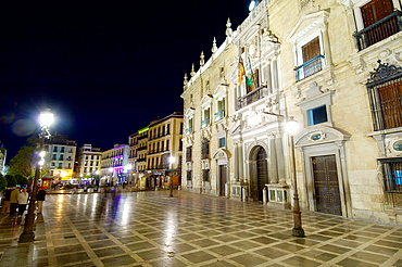 night view of City Hall in Granada, Andalucia, Spain