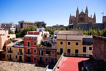 partial view of Palma de Mallorca old town seen from the Hotel Tres, Spain, Europe