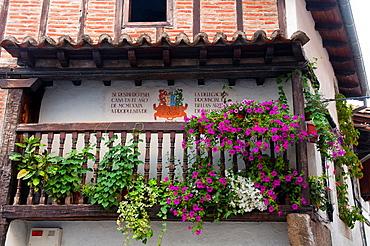 Balcony with flowers. Candelario, Salamanca province, Castilla Leon, Spain.