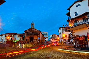 Main Square, night view. Candelario, Salamanca province, Castilla Leon, Spain.