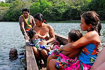 family from Embera native community living by the Chagres River within the Chagres National Park, Republic of Panama, Central America