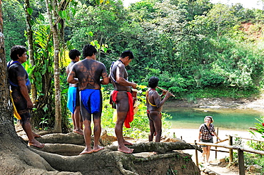 welcoming by villagers of Embera native community living by the Chagres River within the Chagres National Park, Republic of Panama, Central America