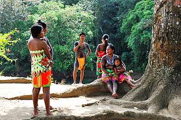 Embera native community living by the Chagres River within the Chagres National Park, Republic of Panama, Central America