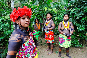 women of Embera native community living by the Chagres River within the Chagres National Park, Republic of Panama, Central America