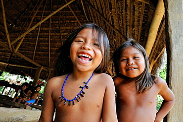 children of Embera native community living by the Chagres River within the Chagres National Park, Republic of Panama, Central America