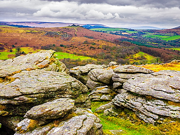 View from Smallacombe Rocks towards Hound Tor in Dartmoor, Devon, England