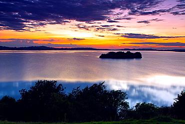 Church Island, Lough Owel, Mullingar, County Westmeath, Ireland, at sunset.