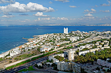 Israel, Haifa, The view of the city from Stella Maris on mount Carmel