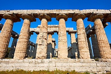 Doric style temple of Hera of Paestum, built around 550 BC by Greek colonists from Sybaris, is the oldest surviving temple in Paestum archaeological site, Italy