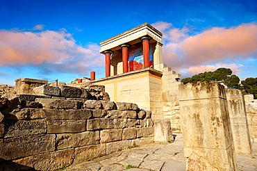 Arthur Evans reconstruction of the Nouth Propylaeum Knossos Minoan archaeological site, Crete