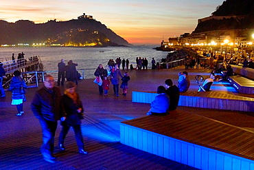La Concha Bay, Terrace Nautico, Donostia, San Sebastian, Gipuzkoa, Basque Country, Spain.