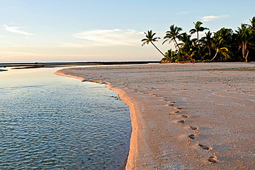 Sunrise and footsteps in the sand, East Island, Suwarrow Atoll, Cook Islands