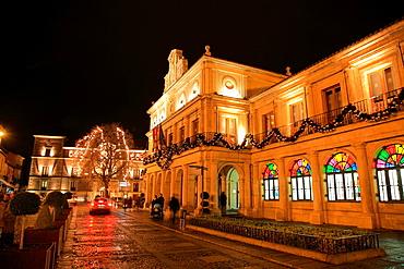 Leon city hall, Leon city, city at night, Castilla y Leon, Spain
