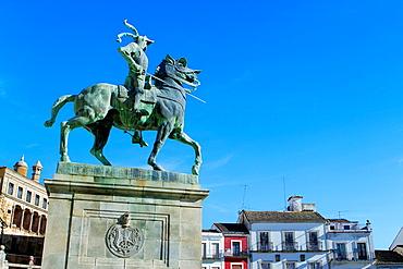 Equestrian statue of Francisco Pizarro in Main Square of Trujillo Caceres Extremadura Spain