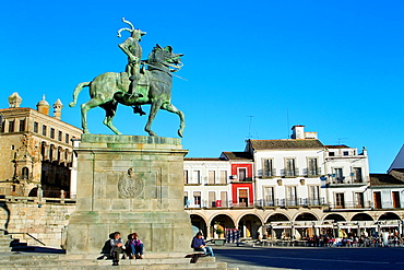 Equestrian statue of Francisco Pizarro in Main Square, symbol of Trujillo Caceres Extremadura Spain