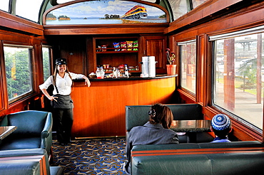 Dining Car, Panama Canal Railway That Links The Atlantic Ocean, Colon, To The Pacific Ocean, Panama City, Republic Of Panama, Central America