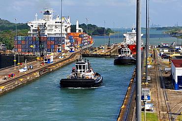 Tug Boat Crossing The Panama Canal Gatun Locks, Republic Of Panama, Central America