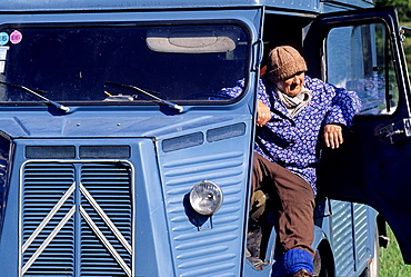 old woman driving her light truck Citroen H Van, Tilia fair at La Charce, Drome department, region of Rhone-Alpes, France, Europe