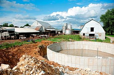 Dairy cow waste treatment structure on a farm near Smithsburg Maryland USA