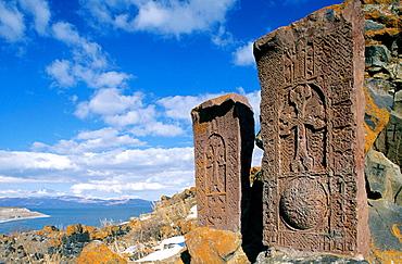 'Khachkars' and Lake Sevan, Hayravank, Armenia