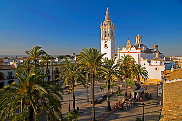 Church of San Juan Bautista and Spain square, La Palma del Condado, Huelva-province, Spain