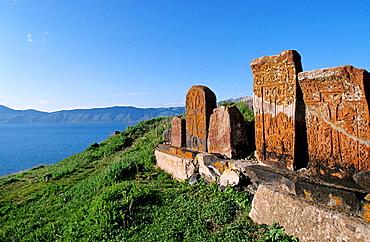 Khachkars by Lake Sevan, Armenia
