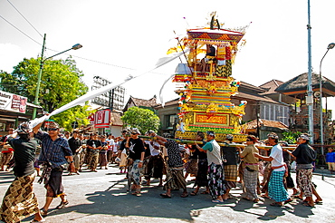 Asia, South-East Asia, Indonesia, Bali, Kuta. Procession of cremation ceremony