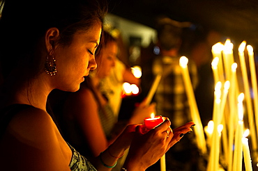 Europe, France, Bouche-du-Rhone, 13, Saintes-Marie-de-la-Mer, pilgrimage of gypsies, offering to the virgin