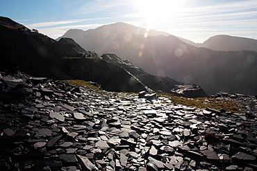 mount snowdon from the dinorwic slate quarry in snowdonia, wales, great britain, uk