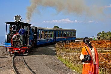 Darjeeling Himalayan Railway Toy Train, with Himalaya Mountains View, Darjeeling, West Bengal, India