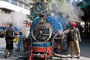 Darjeeling Himalayan Railway Toy Train being serviced, Darjeeling, West Bengal, India