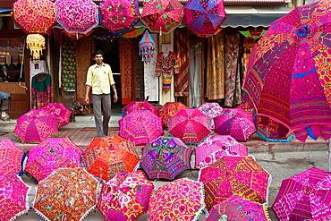 Colourful Umbrellas For Sale, Umbrella Shop, Jaipur, Rajasthan, India