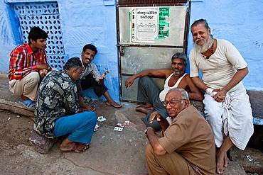 Men Playing Cards In The Street, Jodhpur, Rajasthan, India