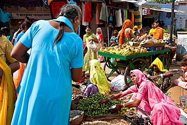 Fruit and Vegetable Market, Pushkar, Rajasthan, India,