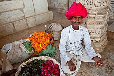 Flower Seller, The Jain Temple at Ranakpur, Rajasthan, India